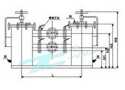 又名双桶切换过滤器,采用两个三通球阀,将两个单筒过滤器组装在一个机